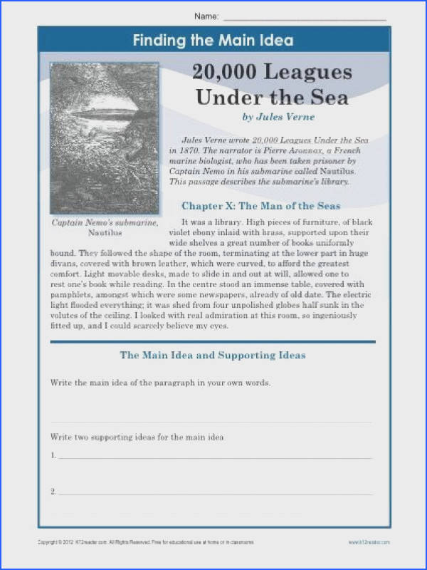 A main idea worksheet about the book 20 000 Leagues Under The Sea Students write
