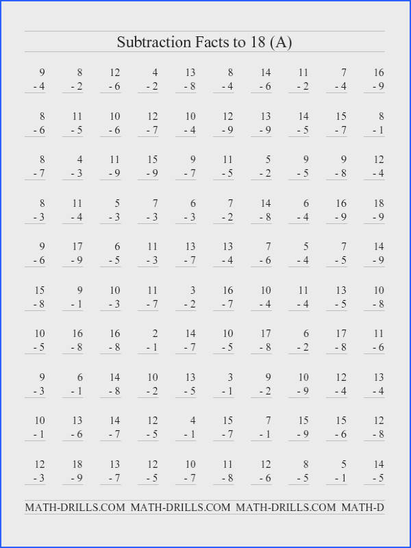 Subtraction Worksheet Subtraction Facts to 18 with No Zeros 100 Questions