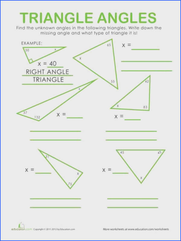 Worksheets Triangle Angles angles triangles math worksheet