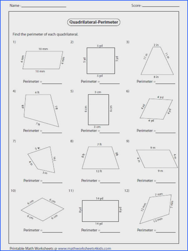 Worksheets contain area and perimeter of quadrilateral such as parallelogram trapezoid kite and rhombus