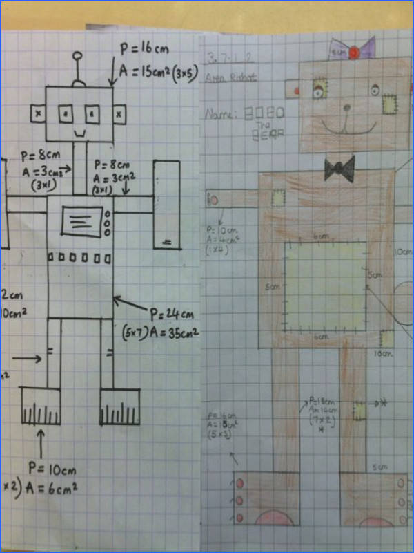 Area Perimeter robots the children to draw robots and write the area and