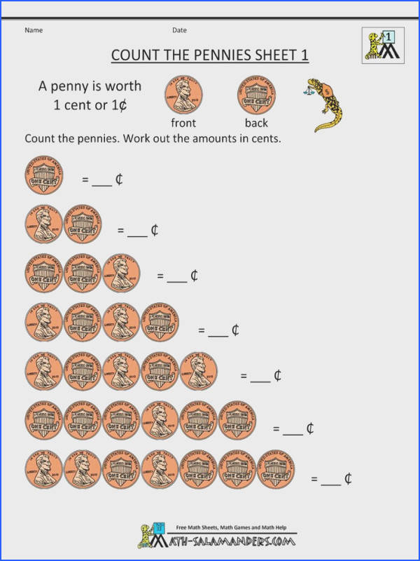 free money math worksheets count the pennies 1
