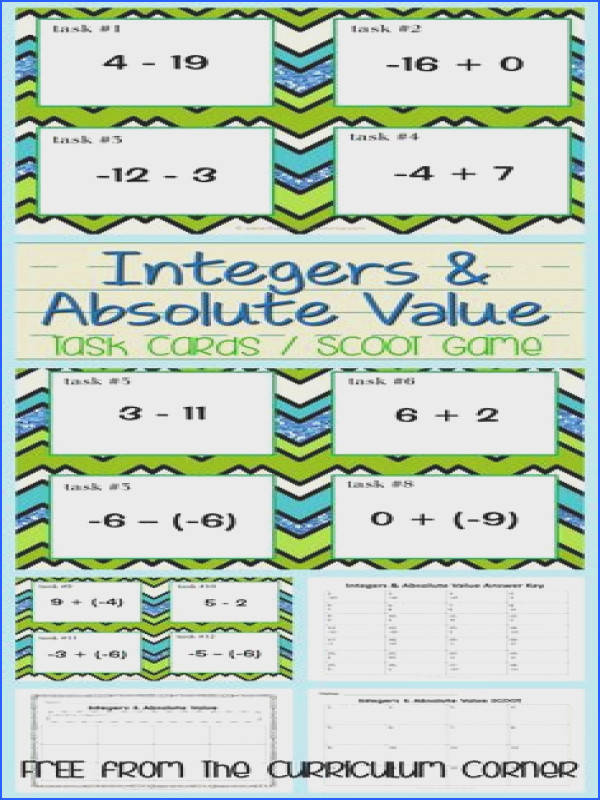 Integers & Absolute Value Task Cards Scoot Game FREE from The Curriculum Corner