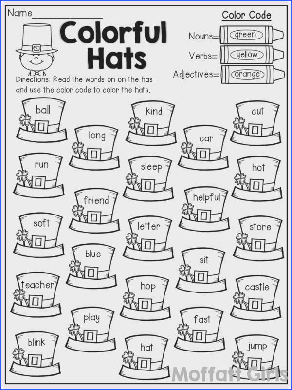 Colorful Hats color by the code nouns verbs and adjectives