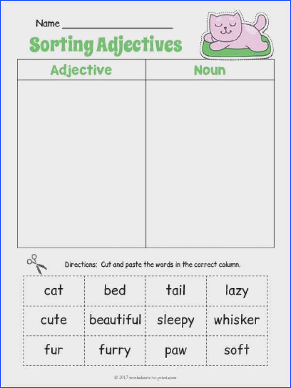 This cute adjective worksheet features descriptive words for a rainbow Students must cut and paste the words deciding if they are an adjective or a noun
