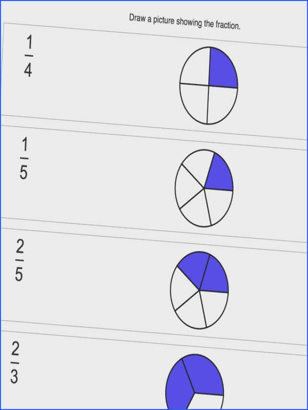 Math Worksheets for Graphic Fractions