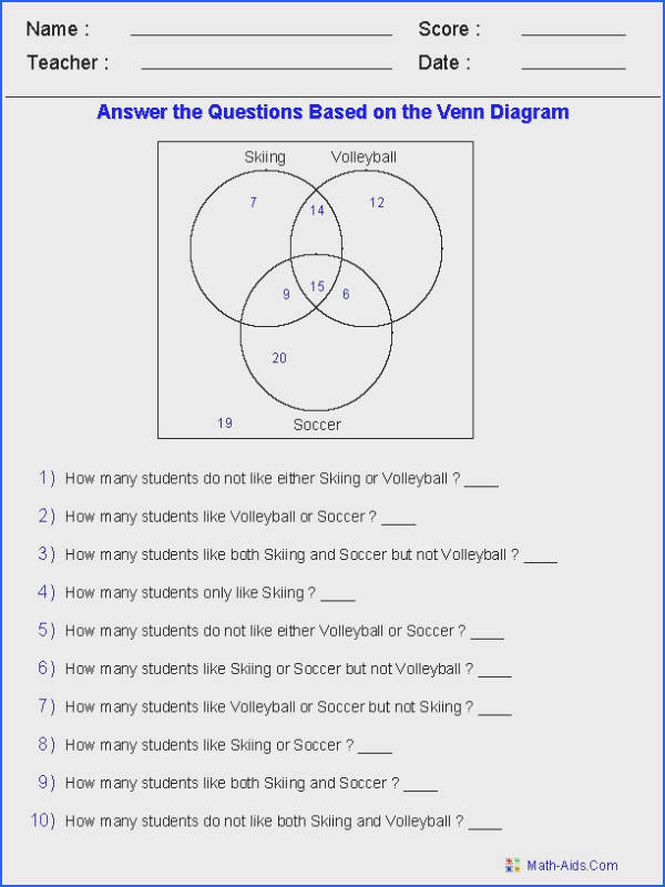 Venn Diagram Worksheets Word Problems Using Three Sets I am using this worksheet for 8th