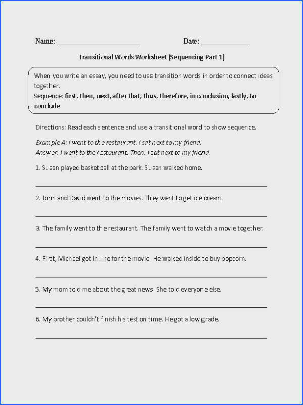 This fun transitional words worksheet directs the student to read each sentence and use transitional words to show sequence