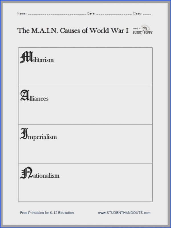 M A I N Causes of World War I Worksheet Free to print PDF file for