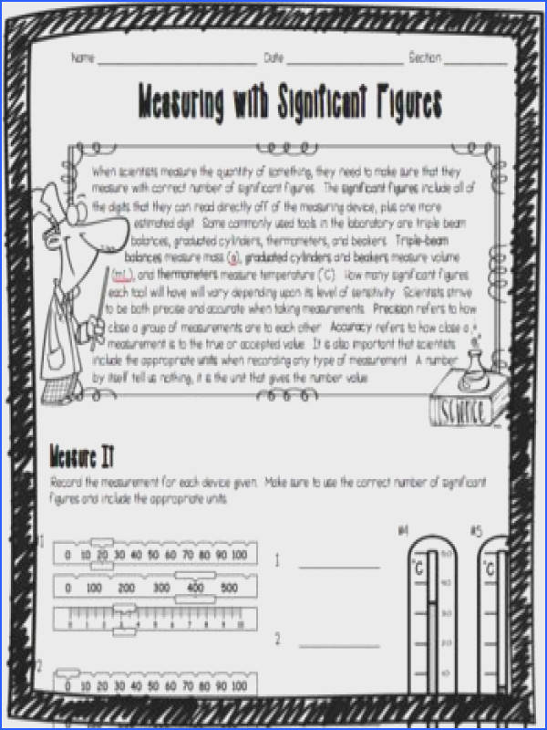 Measuring with Significant Figures Worksheet