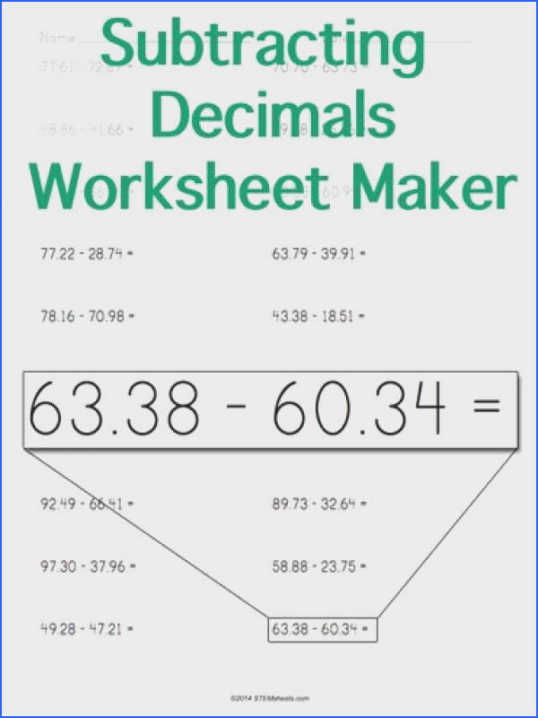 Customizable and Printable Subtracting Decimals Worksheet Horizontal Format