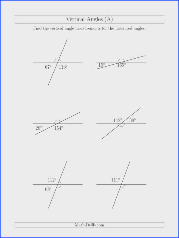 The Vertical Angle Relationships A math worksheet from the Geometry Worksheets page at Math