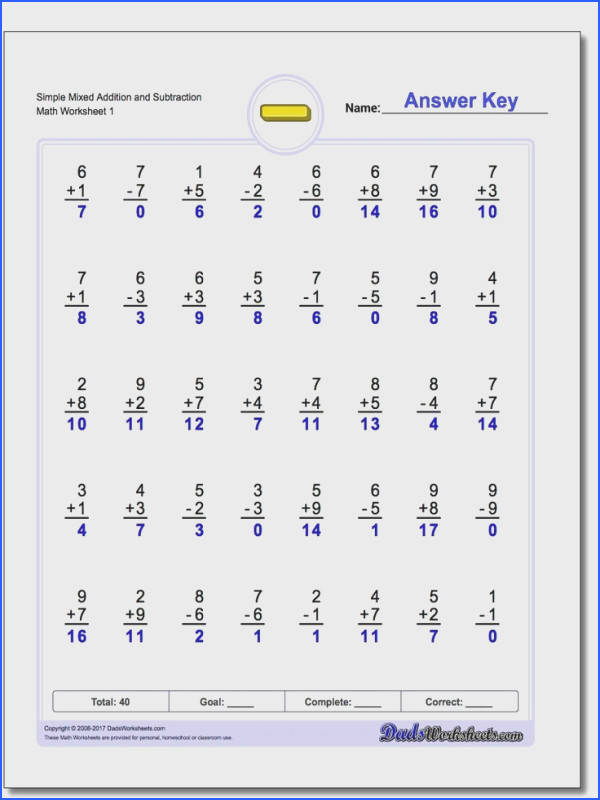 Math worksheets with mixed addition and subtraction problems
