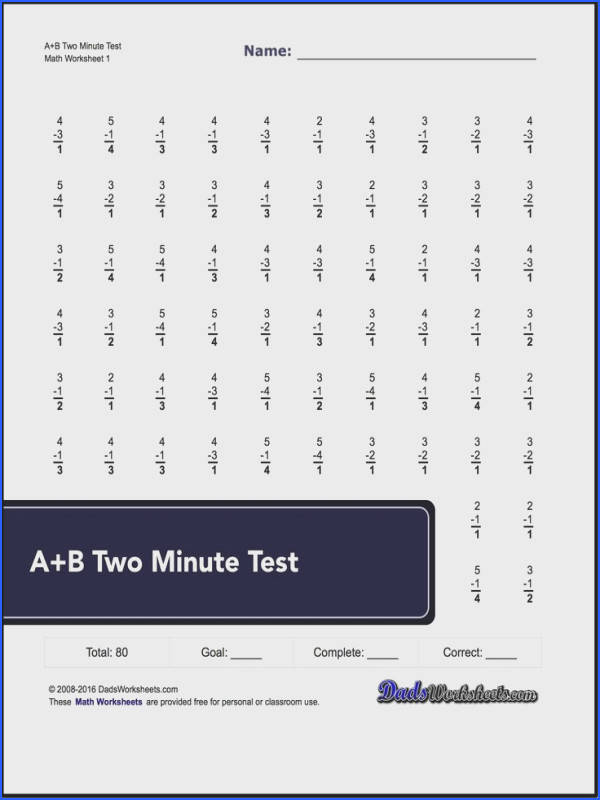 Two minute versions of the Spaceship Math subtraction worksheets with 80 and 100 problems per page