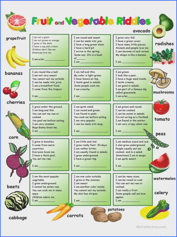Fruit and Ve ables Riddles with KEY worksheet Free ESL printable worksheets made by teachers