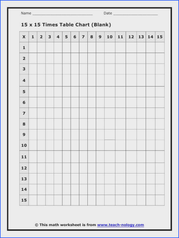15 x 15 Times Table Charts Worksheet