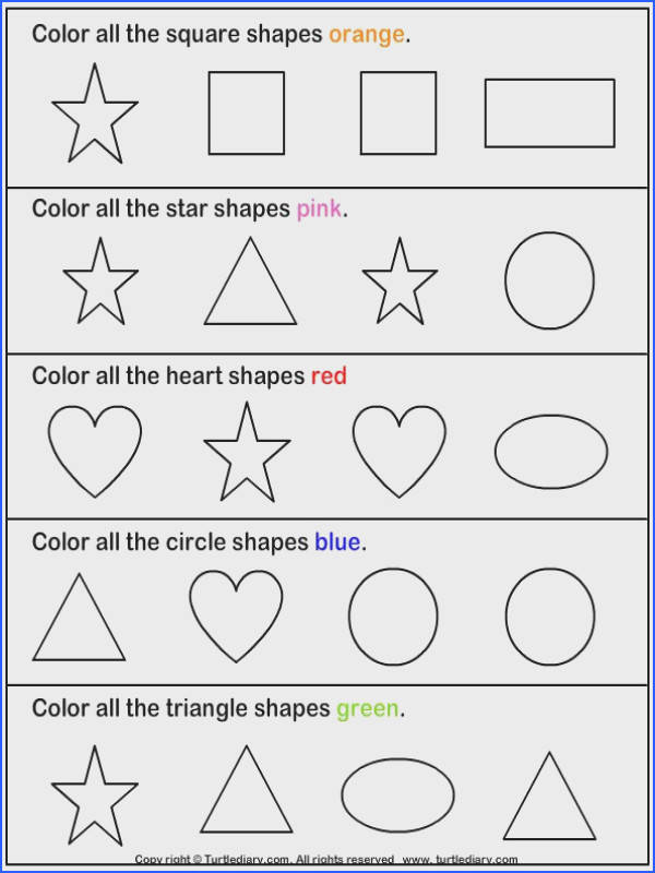 14 Best Shapes Worksheets Images On Pinterest Image Below Kindergarten Shapes Worksheets