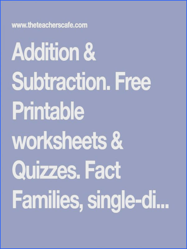 Free Printable worksheets & Quizzes Fact Families single digit