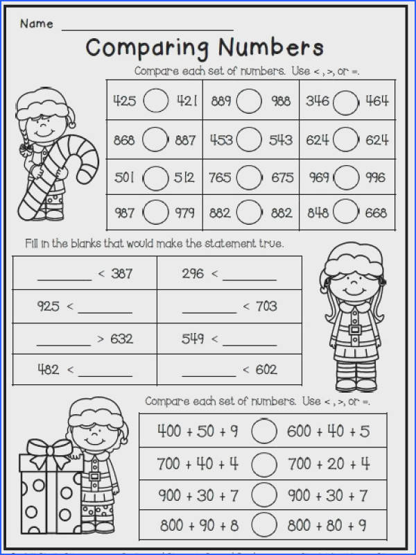 Christmas math worksheet freebie for second grade paring numbers More