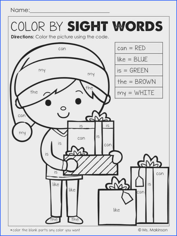 Christmas Printables Color by Sight Words