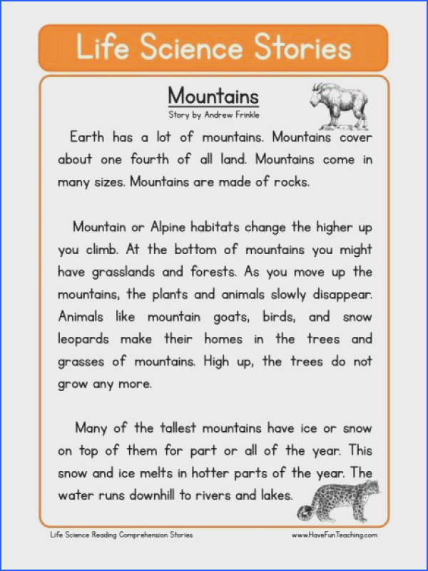 This Reading prehension Worksheet Mountains is for teaching reading prehension Use this reading prehension story to teach reading prehension