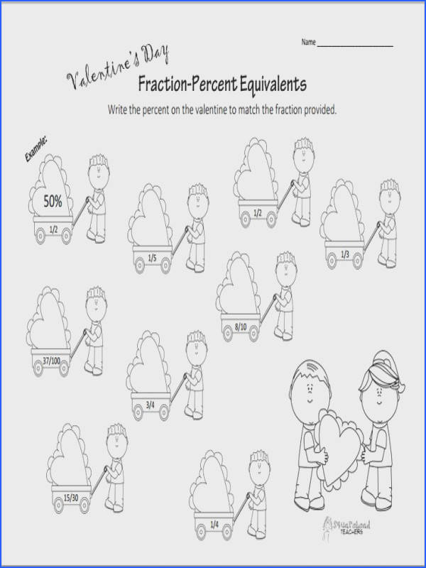 Squarehead Teachers Valentine s Day worksheet about finding equivalent fractions and percents