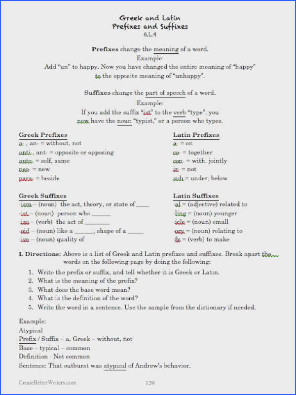 Greek & Latin Prefixes and Suffixes From mon Core Based Language Free sample worksheets