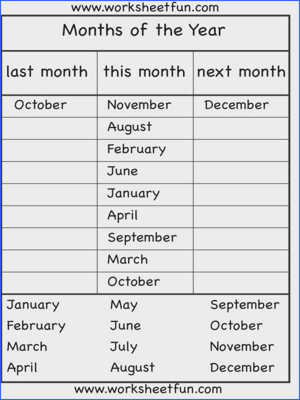 Months of the Year 4 Worksheets