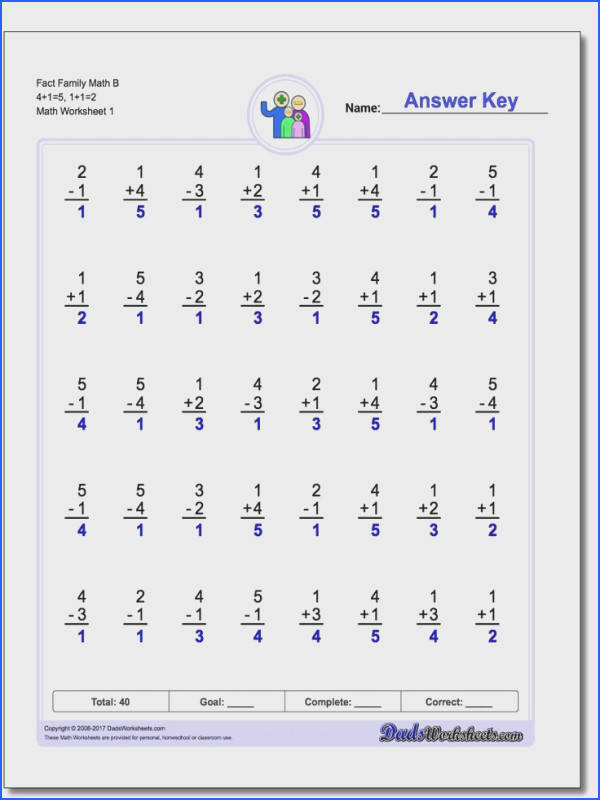 e Minute Addition Subtraction These 40 problem one minute fact family worksheets are a great introduction to addition and subtraction facts
