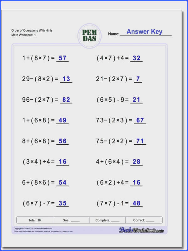 Free math worksheets for Order of Operations problems