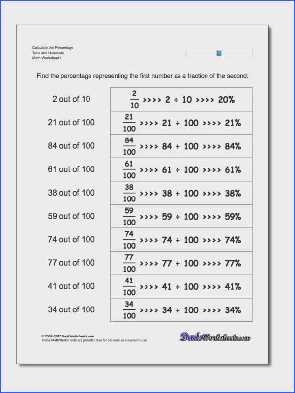 Percentage Worksheets With these worksheets students will practice how to turn a convert a fraction to percent form change a percent to fraction form