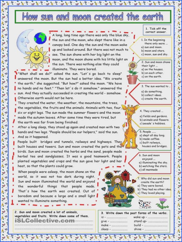 How sun and moon created the earth KEY worksheet Free ESL printable worksheets made by teachers