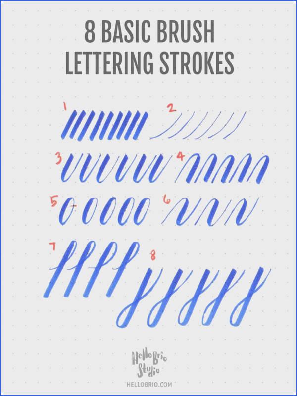 through to learn how to create these 8 basic strokes for brush lettering and brush