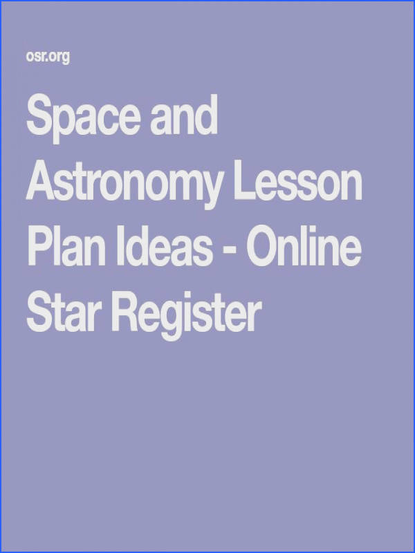 Space and Astronomy Lesson Plan Ideas line Star Register