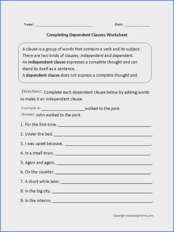 This plex sentences worksheet directs the student to plete each plex sentence by adding an independent clause A plex sentence is made of an
