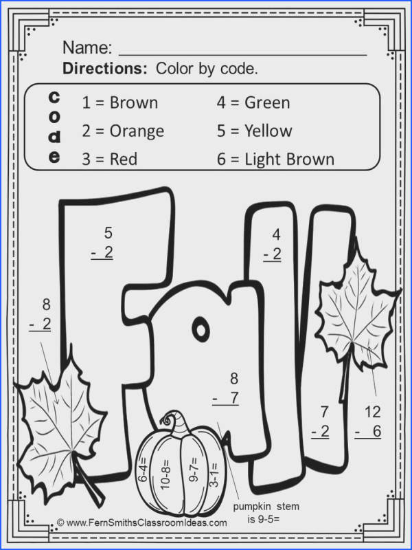 Basic Subtraction Facts Color Your Answers Printables with Answer Keys Color