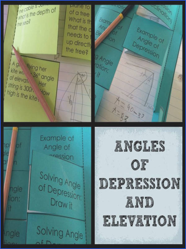 Angles of Depression and Elevation Color Interactive Notebook for Trigonometry