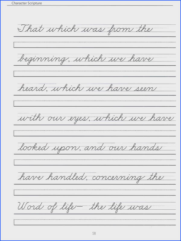 Scripture Character Writing Worksheets Zaner Bloser Beginning Cursive