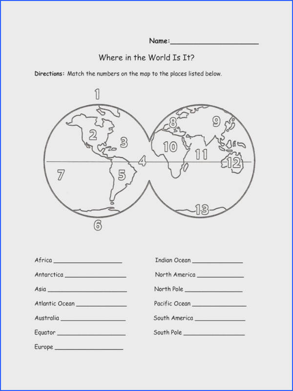 Label continents oceans worksheet Continents And Oceans Worksheet Free