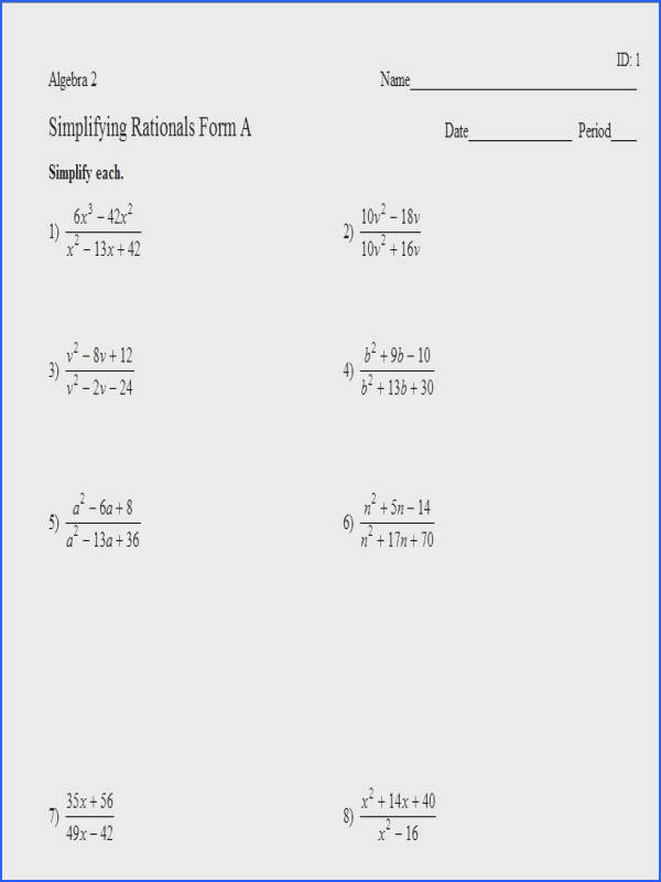 Graphing Rational Functions Worksheet Answers Best Simplifying Rational Expressions Worksheet Answers Free Worksheets