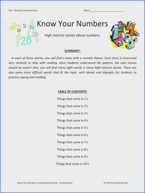 Reading prehension Worksheet Know Your Numbers Collection