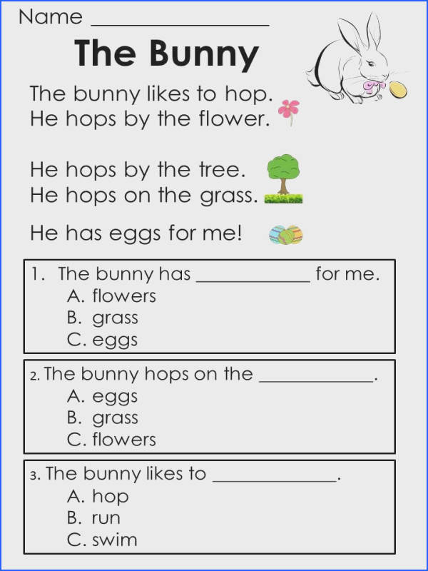 Easter Reading prehension Passages Designed to help kids develop prehension skills early in the process