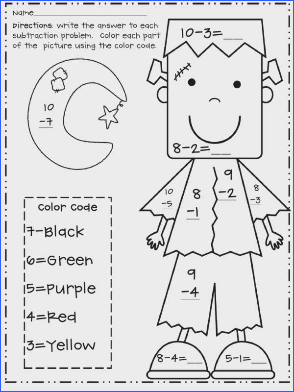 Halloween Subtraction Color by Number Frank pdf