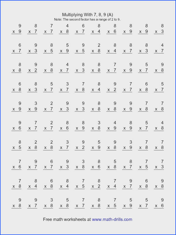 Multiplication Worksheet 100 Vertical Questions Multiplication Facts 7 9
