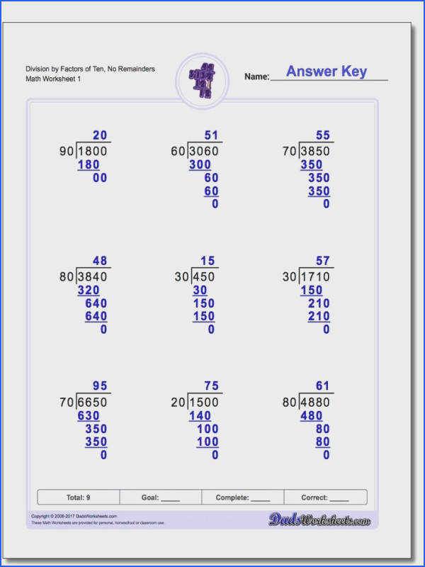 Long division worksheets with problems focusing on factors of ten with and without remainders