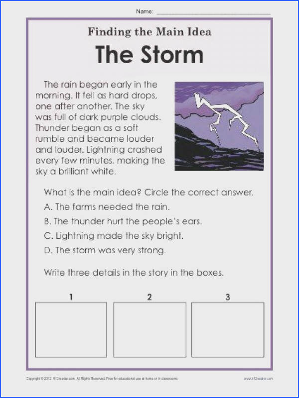 1st or 2nd Grade Main Idea Worksheet About Storms Image Below Main Idea Worksheets 2nd Grade