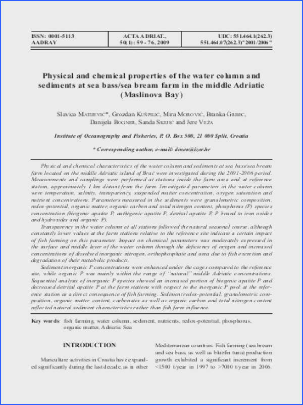 Physical and chemical properties of the water column and