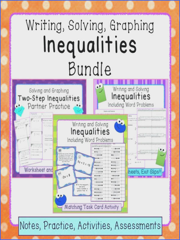one step inequalities worksheet or inequalities bundle writing solving and graphing stunning two step inequalities worksheet