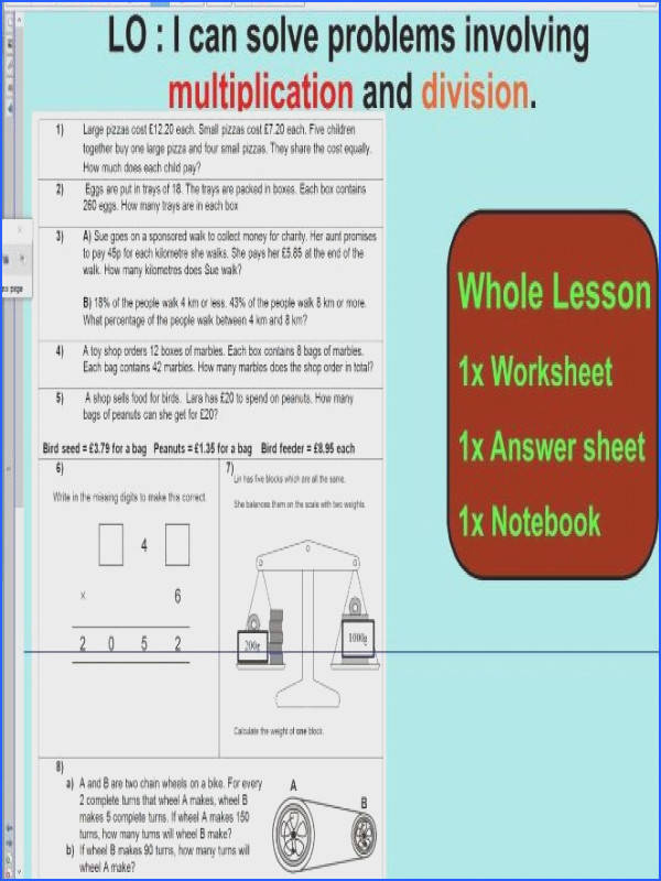 2 Whole Lesson Multiplication and Division word problems based on SATS questions KS2
