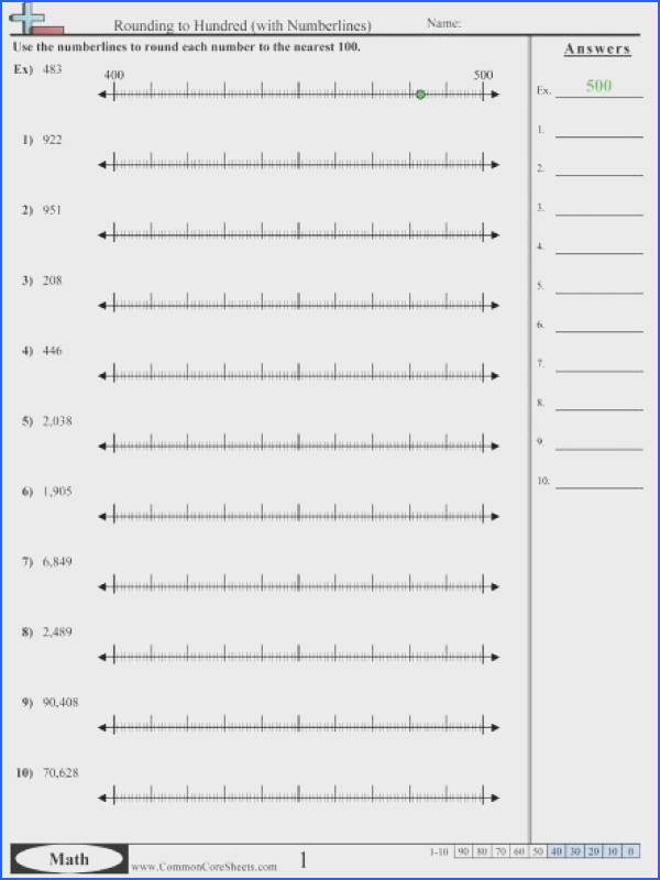 Rounding to Hundred with Numberlines worksheet
